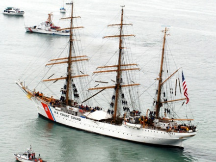 The U.S. Coast Guard's Eagle, a floating classroom since 1946, participates in the Parade of Sails July 3 along Foss Waterway in Tacoma, Wash. (Photo by Petty Officer Kelly Parker, U.S. Coast Guard)