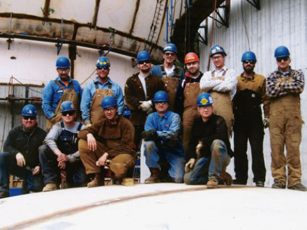 Local 242 builds giant eggs in Washington.  Pictured, l. to r., are: front row, Neal Davis, John Hess, Frank Maravilla, and Justin Reardon; and back row, Jeff Weger, Jeff Voss, Dan Thiessen, Kevin Baumann, Bob Bergan, Alex Burunov, Aaron Dirks, James Dennis, and Mark Keffeler.
