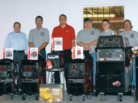 Lincoln Electric representatives and BNAP staff show some of the equipment donated to this year's winners of the Outstanding Apprenticeship Award competition. L. to r. are Carl Peters, Lincoln director of training; John Standish, BNAP instructor; Jason Schmidt, Lincoln technical trainer; Louie Lombardi, BNAP instructor; Robert Simmons, Lincoln technical sales rep; and Mark Branscum, BNAP instructor.