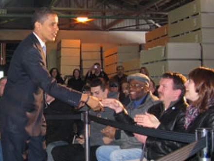 Sen. Barack Obama takes part in a town hall-style meeting at the Lorain, Ohio, National Gypsum plant, where Local D416 members are employed.