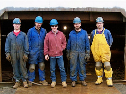 NTL Boilermaker crew members Lewis Keifer, Seth Traver, Jeremy Kovalick, foreman Jeff Kovalick, and Jerry Davies replaced a tank bottom at Sunoco Logistics