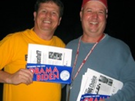 Local 19 (Philadelphia) VP Fred Chamberlain, l., and Philadelphia Metal Trades Council President Gary Gaydosh distribute worksite leaflets supporting Barack Obama. Photo courtesy Molly Theobald