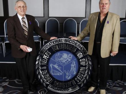 L-146 55-year pin recipients, l. to r.: Adolf Zelt and Josef Zavazal Sr.