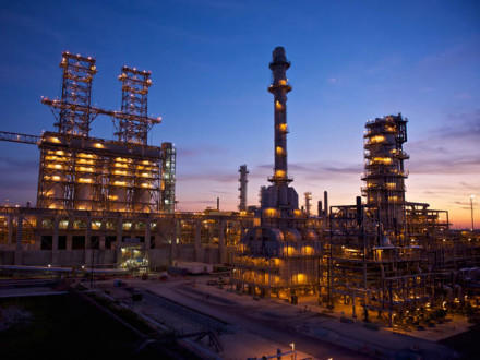 The Phillips 66 Wood River refinery at night. At left is the new four-drum coker unit. All photos courtesy Phillips 66