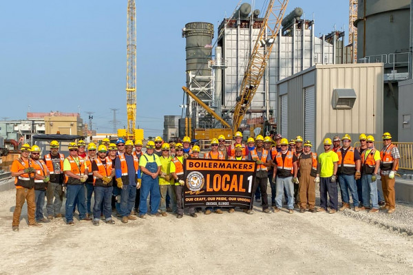 Local 1 Boilermakers take a breather for a quick photo at the Jackson Generation project in Elwood, Illinois. Kiewit Power Constructors is the contractor for the J-Power USA project.