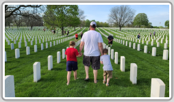 Fred Karol, with his son Silas and daughter Rorie, walk through Wood National Cemetery on Memorial Day. (Photos courtesy of Amanda Karol)