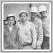 Padre e hijos en el trabajo en la década de 1960. De izquierda a derecha: John Miskell, Don, Jerry y Jim.