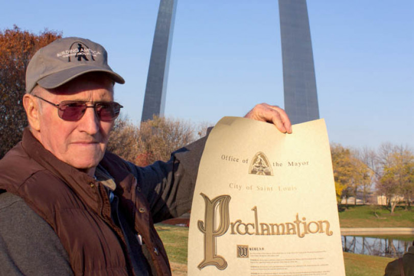 "Archie Brittain displays the proclamation issued by St. Louis Mayor Francis Slay naming November 15 ""Gateway Arch Boilermaker Craftsmen Day."