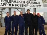 Contestants in the 2010 Canadian Boilermaker Apprenticeship Competition include, l. to r., Jackson Bishop, L-555; Lucas Wood, L-128; Andrew Dolan, L-73; Adam Saunders, L-359; Eric Hache, L-146; and Francis Cadieux, L-271.