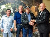 L-37 (NEW ORLEANS) MEMBER GARY WEILAND, third from left, receives his 40-year pin from David L.Hegeman, District Manager of District 5. Also pictured are, far left, Perry Picou, L-37 president, and, second from left, Lionel Hanna, L-37 BM-ST.