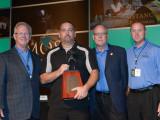 BOSTON LOCAL 29 BM-ST CHARLES HANCOCK accepts the Charles W. Jones Award on behalf of his lodge. L. to r., IP Newton Jones, Hancock, MOST Administrator Roger Erickson, and MOST Chairman Greg Purdon.