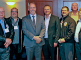 Boilermakers from various British Columbia lodges meet with the provincial leader of the NDP March 12. Left to right, Randy Morehouse, President, L-D277; Kevin Forsyth, BM-ST, District Lodge D11; John Horgan, Leader of the NDP, BC; Mike Middleton, President, L-D400; Mike Brereton, President, L-D486; Richard MacIntosh, International Rep; and Gordon White, BM-ST, L-191.