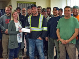 Boilermakers from L-128 and L-555, along with employer Venshore Mechanical Ltd., donate over $1,000 to a local hospital.