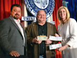 """Local 107's Gerard """"Mozzy"""" Maciejewski (center) was the top individual fundraiser for CAF. He is pictured with IVP J. Tom Baca and D-PA Bridget Martin."""