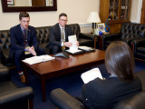 Delegates Andy Labeck and Christopher Donahue of Local 5, Zone 5 talk to a legislative staffer about the need to repeal the Cadillac tax, during the 2019 LEAP Conference in Washington, D.C.