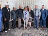 Representative Eleanor Holmes Norton (D-DC), center, at the 2019 LEAP Congressional Reception with, l. to r., Vernon Jackson and the late Wilton Barnett, L-S50; IVP-NE John Fultz; Dan Weber, L-193; Clifton Saul, L-S50; EA-DGA Hannah Samuel; Ron Myers, L-193; and Darrin Furgason and Brian Bosse, Vulcan.