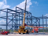 After breaking ground for the local's new rigging yard last April, Local 374 journeymen and apprentices began erecting the steel frame.
