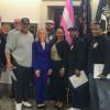 Los miembros del L-19, con los representantes internacionales David Gaillard y Érica Stewart, se reúnen en Washington, D.C. con la congresista Mary Gay Scanlon.