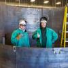 "Local 627 graduate apprentices Dakota Huffman (left) and Thomas ""T.J."" Clark at the J.G. Cooksey Training Center in Salt Lake City, Utah."