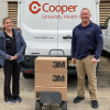 John Lacovara, L-28, delivers two cases of N-95 masks to Cooper Hospital in Camden, New Jersey, where his daughter Lauren Lacovara (pictured) works.