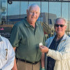 Bill Elrod (center), Local 263 (Memphis, Tennessee), who retired as an International Rep, Construction Division Rep and Special Assistant to the International President, receives his 50-year pin from International President Newton B. Jones (right). Elrod worked with IP Jones and IST Bill Creeden (left) as part of the original Fight Back strategy in the 1980s that won back millions of dollars for union Boilermakers.